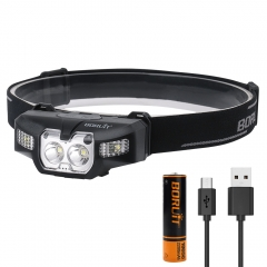 Boruit USB Mini Camping Flashlight Head Lamp Light, Outdoor Rechargeable Motion Sensor LED Headlamp For Helmet