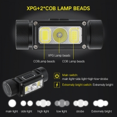 High Quality New Multi-function COB Flashlight Head Lamp USB Type-C Port LED Headlamp For Helmet