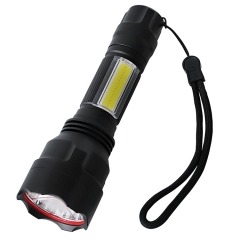 Customized Logo 18650 Battery Flash Light Led Flashlight torch with COB side light