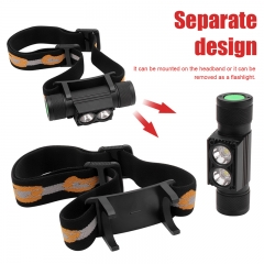 180 Degree Head Super Bright Waterproof Head Lamp, 4 Modes LED Head Torch High Power USB Rechargeable Headlamp