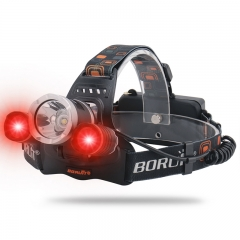 Boruit RJ-3000 (T6+2R2) 3 Bulbs Red Blue Green Purple Light Rechargeable LED Headlamp Head Torch