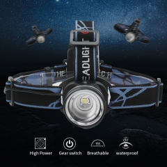 Zoomable 1000 Lumen T6 LED headlamp with 3 AAA Dry battery wide angle