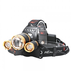 3000 Gold Zoom rechargeable headlamp t6 Head Lamp Bead